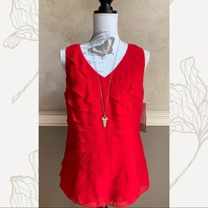 Anne Klein NY Red Silk Tiered Crepe Blouse NEW 6